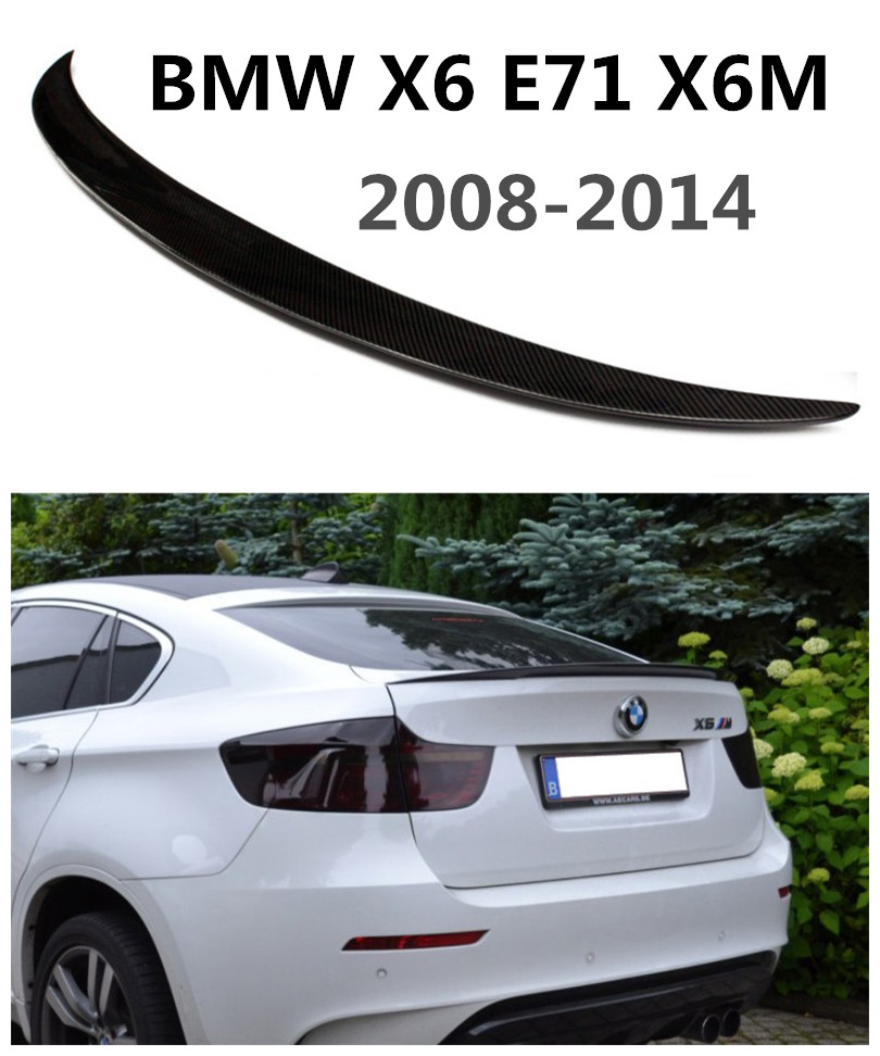 HLONGQT Carbon Fiber Spoiler For BMW X6 E71 X6M 2008 2014