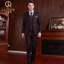 Pre Sale deep brown men formal business formal wedding groom suit set England Retro slim fit suit coat+vest+pant prom suit