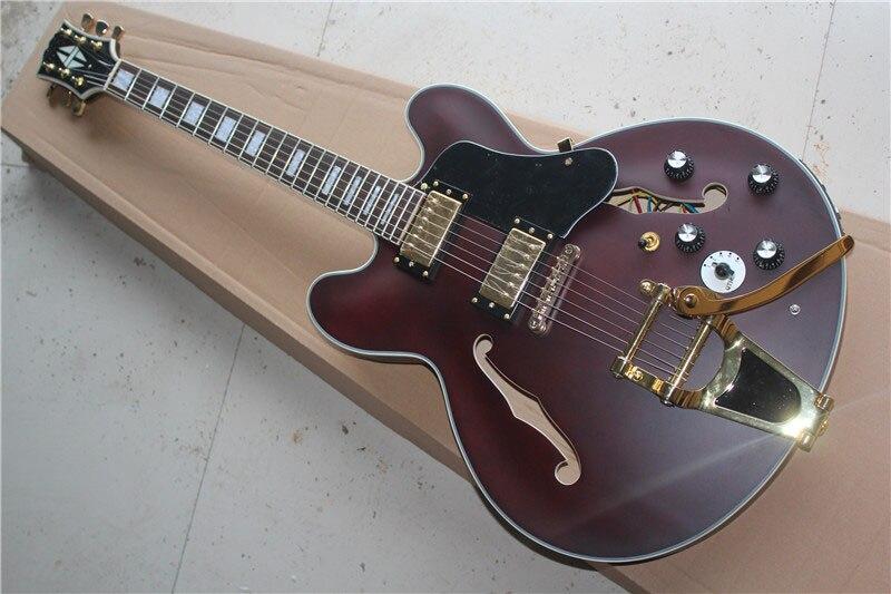 Бесплатная доставка Высокое качество нового ES 335 блок переиздание Золотой аппаратных F отверстие тела Джазовой гитары с Bigsby электрогитары