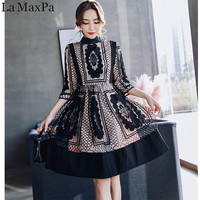 La MaxPa 2018 Women New Spring Summer Arrived Elegant Vestidos Bodycon Vintage Party Lace Hollow Out Runway dress