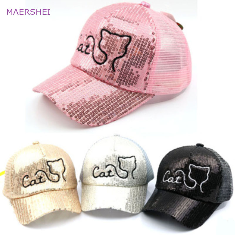 4061707aa52d1 MAERSHEI 2018 summer new kids cat baseball cap children s net cap Korean  fashion trend bead hat
