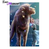 Ever Moment Diamond Painting Handmade Full Square Drill Picture Of Rhinestone Lion Girl Diamond Embroidery Decoration Home 3F501
