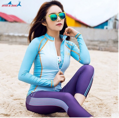 Women Long Sleeves Swimwear Surf Clothing Diving Suits Female Lycra Jellyfish Rash Guard Surf Shirt Bathing Beach Swim Top