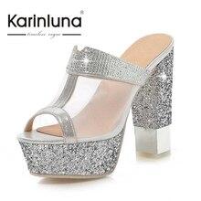 KARINLUNA Große Größe 32-43 Gladiator Dicken High Heels Sommer Schuhe Frau Ausschnitt Air Mesh Oberen Strass Glitter Plattform sandalen