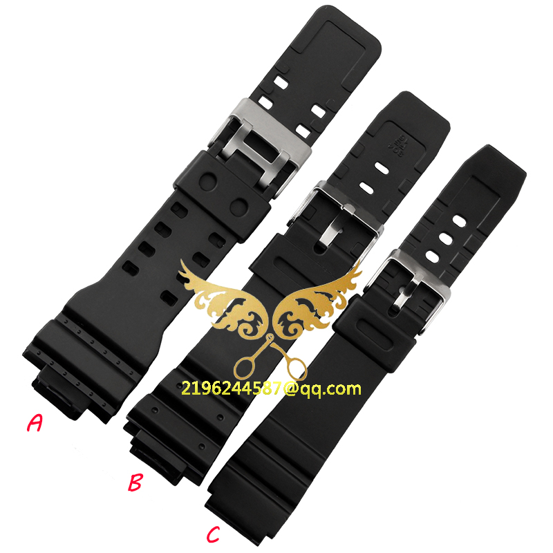 2015 New Watchbands Soft Fashion Silicone Strap Buckle Wrist Watch Band 16mm 18mm 20mm 22mm Black