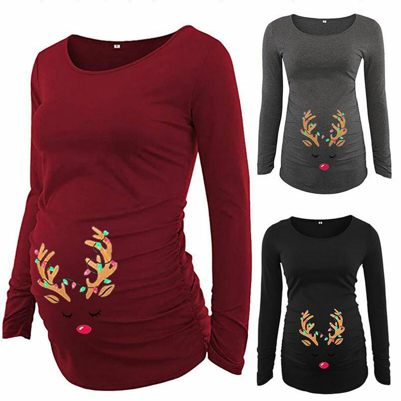Christmas Printed Maternity Tops For Pregnant Women Clothes Long Sleeve Pregnancy Shirts Maternity Tee Top Gravidas Clothing