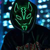 Fox Full Face Neon Mask Light Led Mask Halloween Party Masque Masks Glow In The Dark Horror Mask Glowing Masker Purge