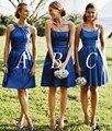 Novo Azul Royal Da Dama de Honra Vestidos Sexy Fora Do Ombro Curto Vestidos Para Convidados Do Casamento Único Vestidos Curtos Para festa de Casamento