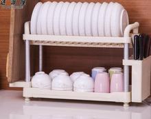 Space Aluminum Double Dish Rack Multifunction Kitchen Dish Draining Holder Rust-Proof Bowl Storage Rack