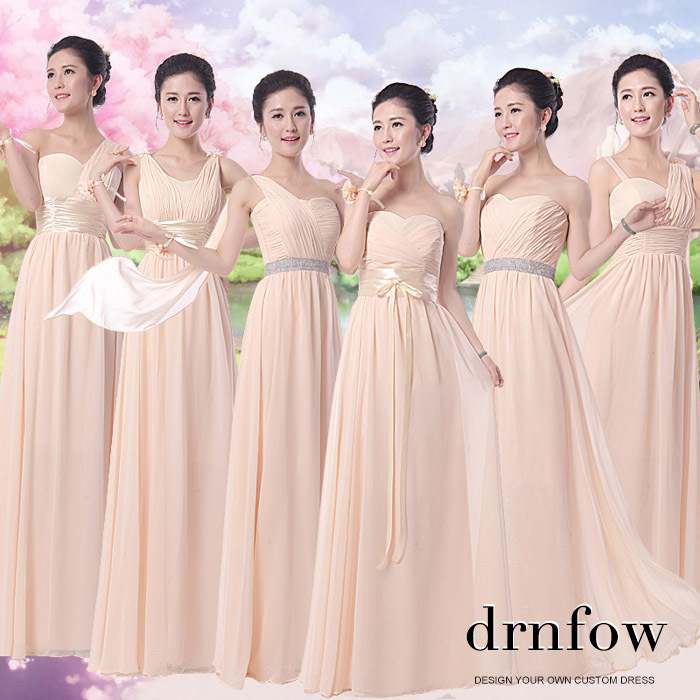 Aliexpress.com : Buy Cheap Bridesmaid dress champagne color 2017 ...