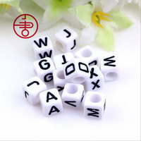 Factory Direct Sell 500PCS/lot Mixed A-Z 10*10MM White with Black Printing Plastic Acrylic Square Cube Alphabet Letter Beads DIY