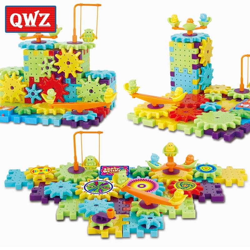 QWZ 81Pcs Plastic Electric Gears 3D Building Blocks Kits DIY Bricks Educational Toys For Kids Children Christmas Gifts 3