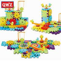 QWZ 81 pièces En Plastique Engrenages Électriques 3D Blocs De Construction Kits briques à monter soi-même Jouets Éducatifs Pour Enfants Enfants Cadeaux De Noël