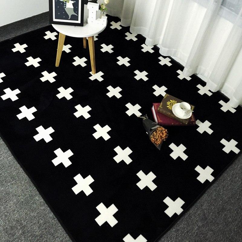 Us 12 33 21 Off Fashion Black White Crosses Living Room Bedroom Decorative Carpet Area Rug Bathroom Floor Door Yoga Baby Kids Crawl Play Mat Pad In