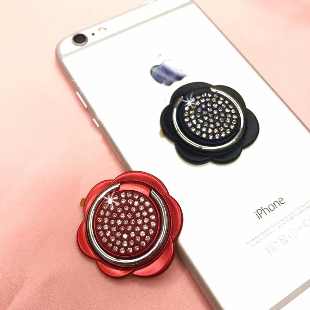 For iPhone Smart Phone Universal 360 Rotating Rose Rhinestone Mobile Phone Accessories Holder Stand Finger Ring Holder
