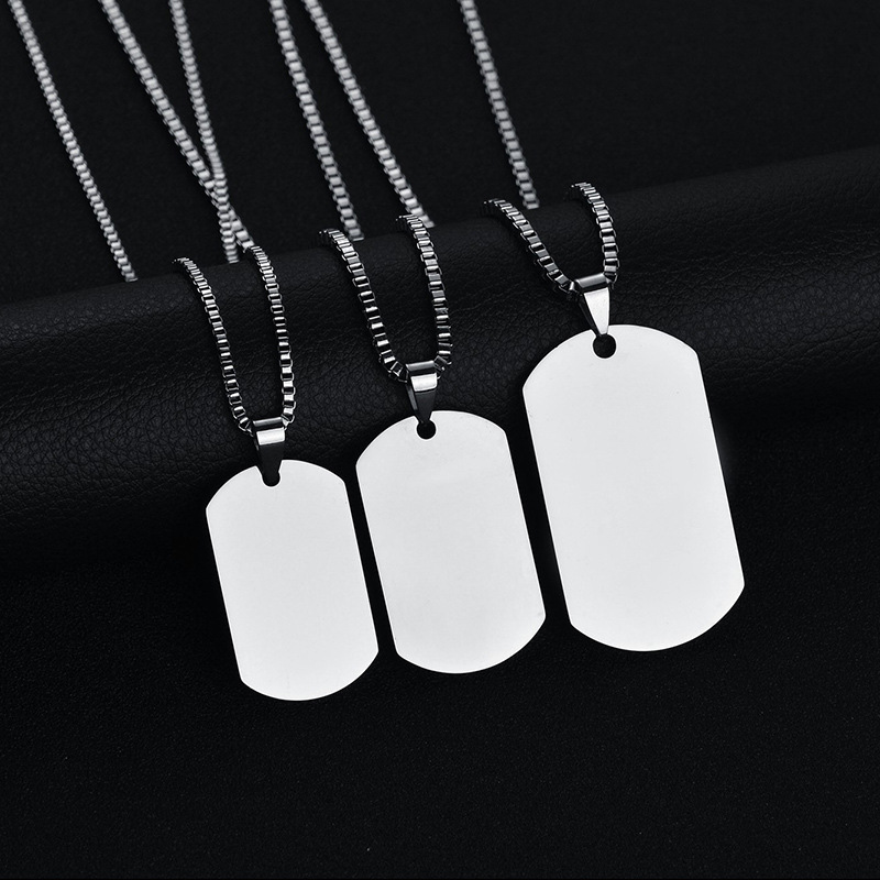 316L Stainless Steel Pendant Necklace Pendant Silver Gold Black Dog Tag Plate Army Biker Chain Necklace Man Woman 3 Size