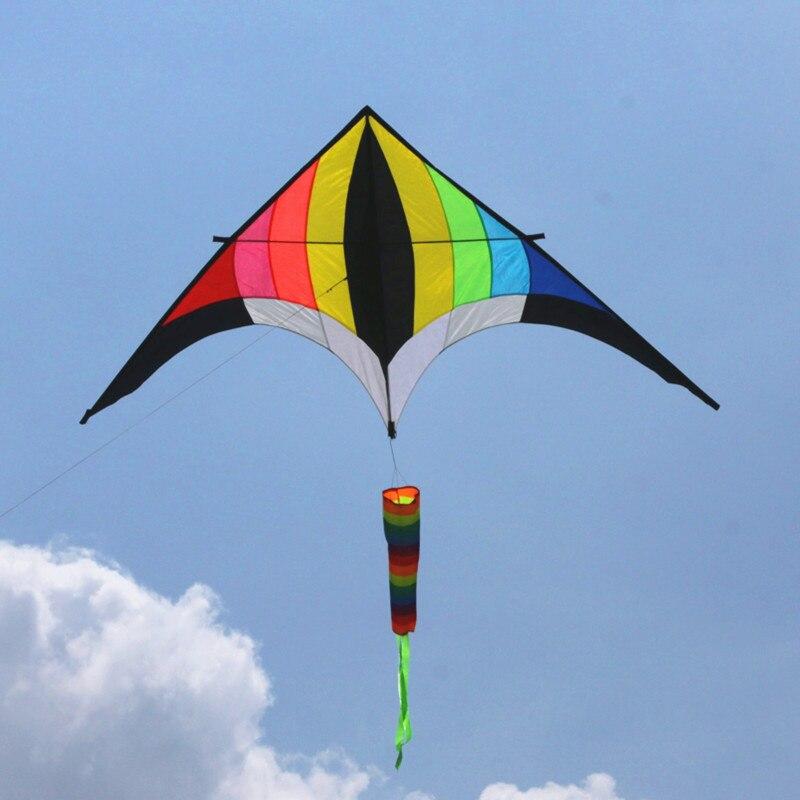 Envío Gratis alta calidad 3m juego de carrete de cometa arcoíris, cometas de triangulo de cola, cometas para adultos viento spinner pescado