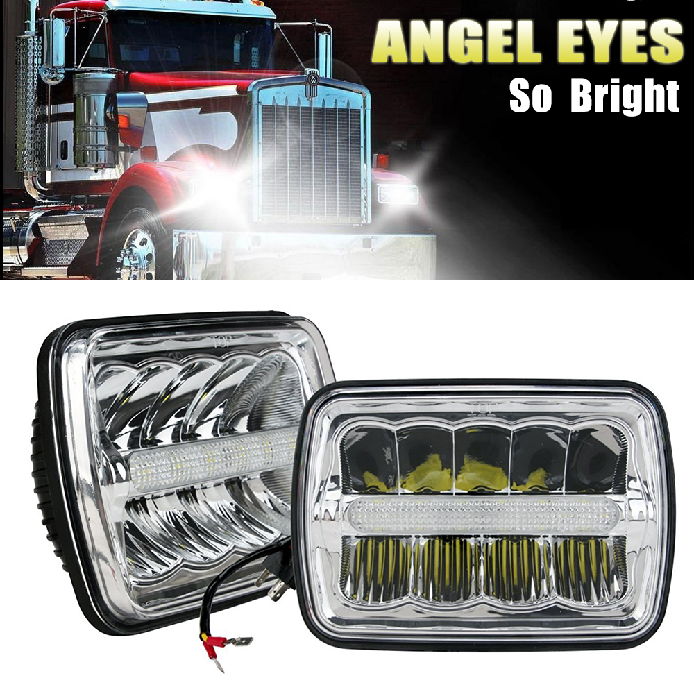 CO LIGHT Square LED Headlight 7X6 5X7 HI-LO Beam Replacement Headlamps for Jeep Wrangler YJ Cherokee XJ Trucks 4x4 Led HeadLight pair square 5x7 inch led headlight daymaker sealed beam replacement truck light high low beam headlamp for jeep wrangler yj