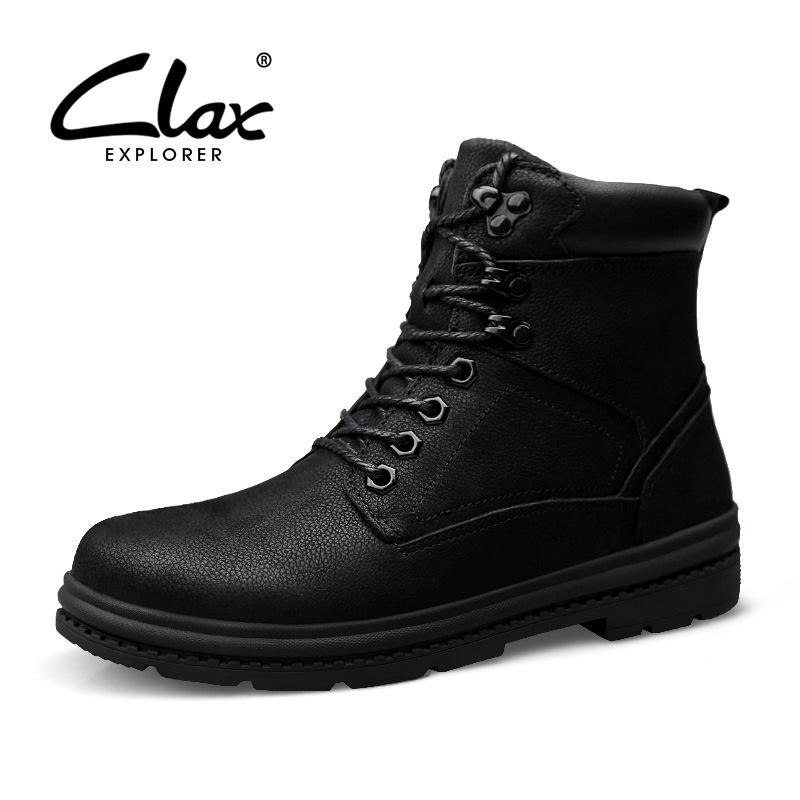 CLAX Men Winter Boots Plush Fur Warm Snow Shoes Male Work Boot High Top Genuine Leather Safety Shoe Martin Shoe plus size clax mens boot spring autumn ankle boot genuine leather male casual leather shoe winter boots men snow shoes fur warm plus size