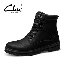 CLAX Men Winter Boots Plush Fur Warm Snow Shoes Male Work Boot High Top Genuine Leather Safety Shoe plus size camp safety golden top plus
