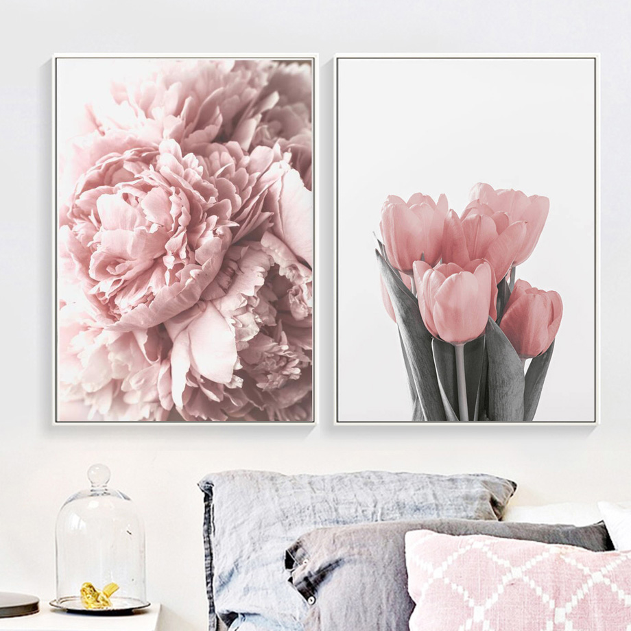 Pink Peony Tulips Rose Flower Wall Art Canvas Painting Nordic Minimalism Posters And Prints Wall Pictures For Living Room Decor in Painting Calligraphy from Home Garden