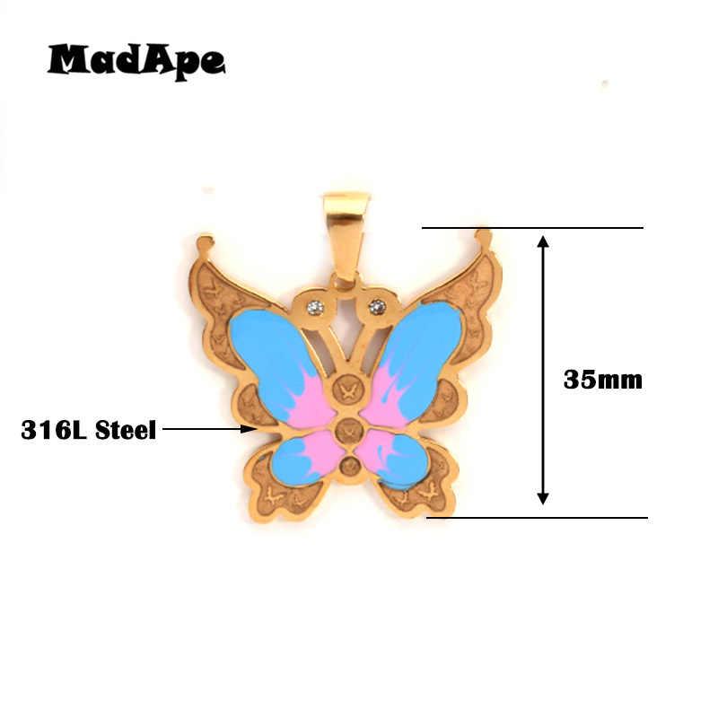 MadApe милые Подвески «бабочка» ожерелье 316L нержавеющая сталь цепочка ожерелья для свитера ожерелье для женщин модные золотые ювелирные изделия