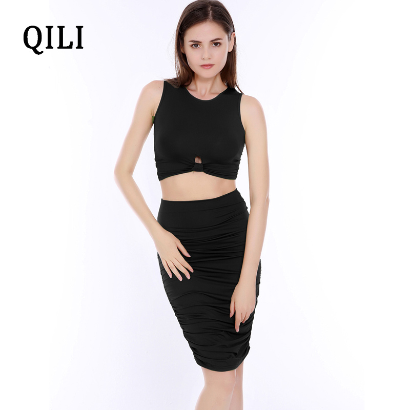 QILI Women Two Piece Dress Tank Top Set Pleated Skinny Stretch Dresses Sleeveless Hollow Out New Fashion Dress Black Army Green in Dresses from Women 39 s Clothing
