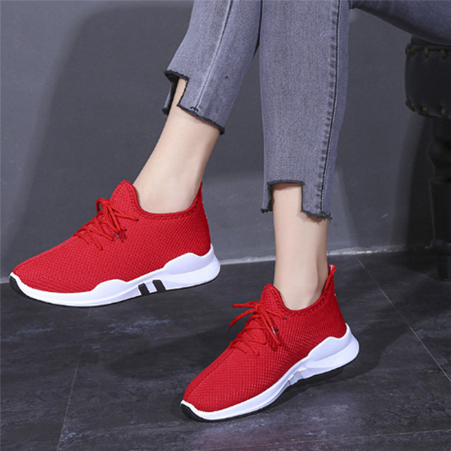Breathable Mesh Lace-Up Fitness Gym Sports Running Shoes For Women