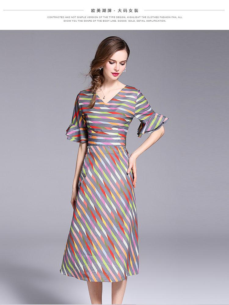 9b22ff06d Summer Clothes for Women Stripes Chiffon Dress Moda Mujer 2018 4XL Plus  Size Dress Vestidos Largos De Verano Casual K6012