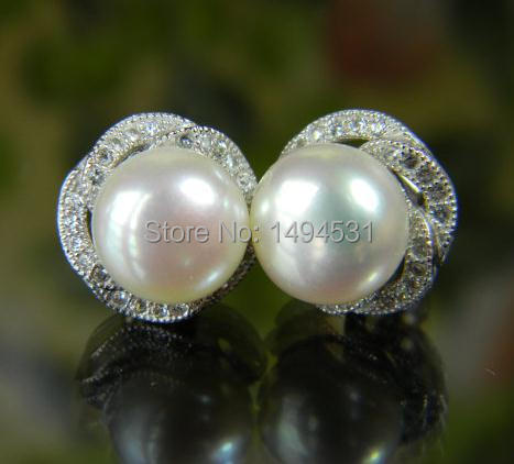 Wholesale Pearl Jewelry, White Genuine Freshwater Pearl 925 Sterling Silver Stud Earrings 9mm AAA Stunning Flower Bridal Gift