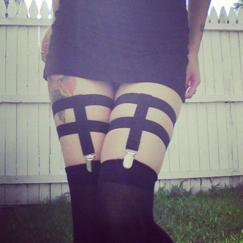 cc0aa0319 Nova moda pastel goth feminino susperder belt para stocking mulheres Sexy  lingerie Garter Cinto clipe gótico busto perna escravidão varejo