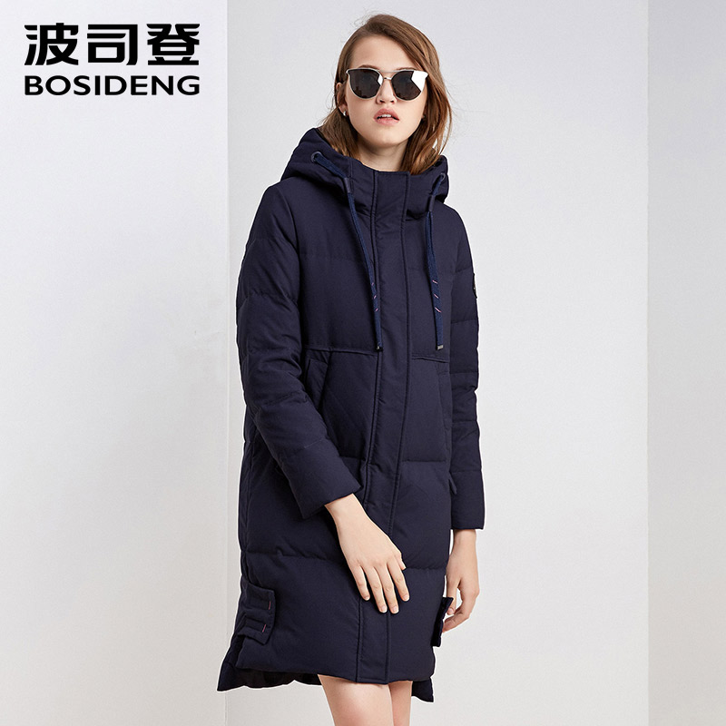 BOSIDENG New Winter Collection 2018 Womens mid-Length DUCK down Jacket Warm HOODED Jacket Coat for Women High Quality B1601154