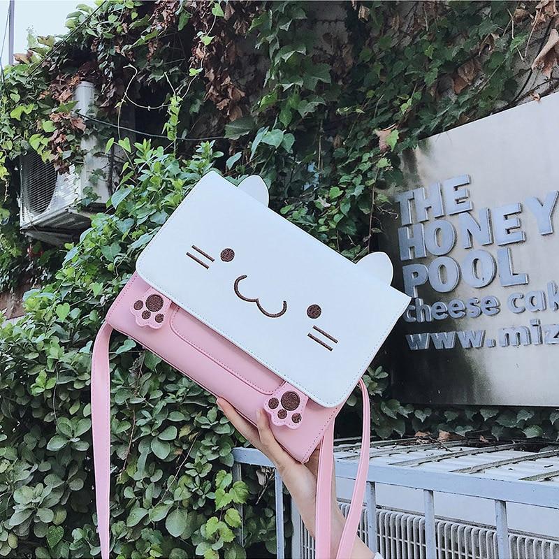 Comic Donne Elaborazione Viso Delle Del Stile Dell'unità Anime A Spal Kawaii Rosa Borse Gatto Sacchetto Di Messaggero Carino Le Crossbody Per Ragazze Cuoio Animale 6zTnpqAp