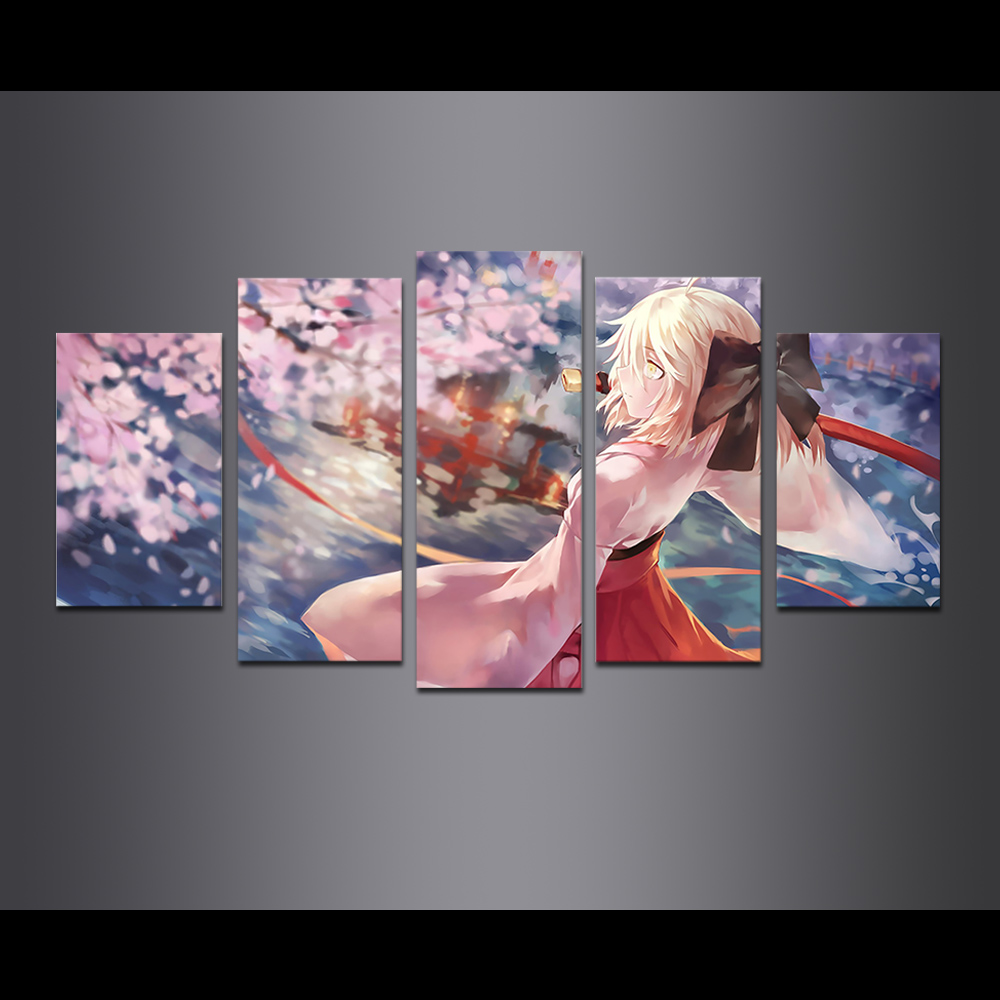 Unframed Canvas Painting Animation Cherry Girl Giclee Modular Picture Prints Pictures For Living Room Wall Art Decoration
