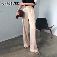 CHICEVER Summer Casual Solid Pants For Women High Waist Zipp
