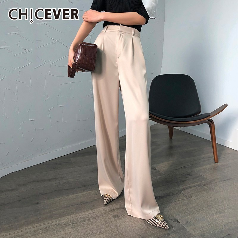 CHICEVER Summer Casual Solid   Pants   For Women High Waist Zipper Pocket Big Large Size Long   Wide     Leg     Pants   Fashion Clothing New
