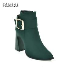 SALCXOI autumn martin boots font b women b font high heels short boots female wedding font
