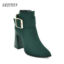 SALCXOI autumn martin boots women high heels short boots female wedding shoes small size 33 big 4243 ankle boots for women &C-50