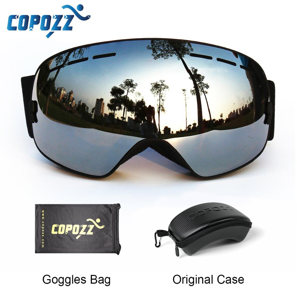 COPOZZ Ski Goggles With Box Case Ski Mask UV400 Anti-fog Snow Goggles Big Spherical Skiing Snowboarding For Women Men