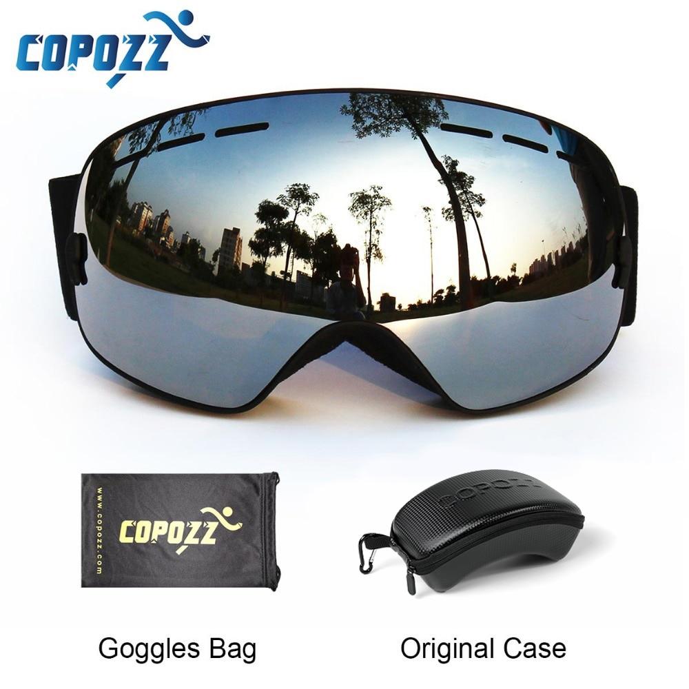 Лыжные очки COPOZZ с футляром, лыжная маска UV400, антизапотевающие снежные очки, большие сферические очки для катания на лыжах и сноуборде для женщин и мужчин