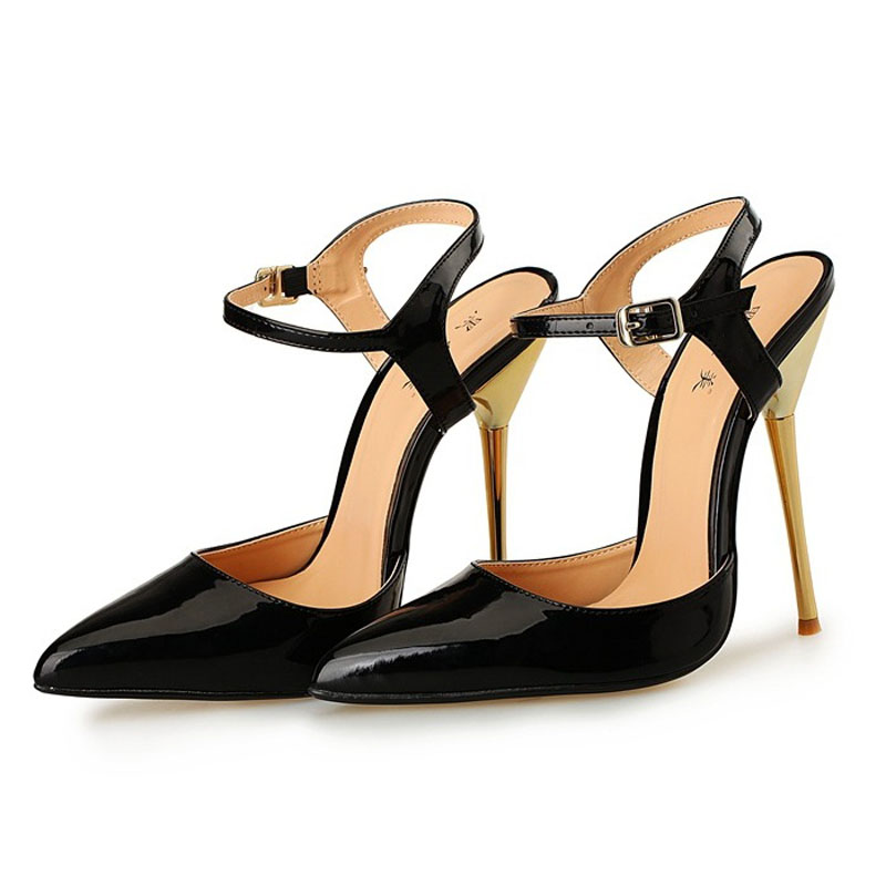 ФОТО 2017 Large Size 40-49 High Quality Patent Leather Black Sexy High Heels Women Pumps Ladies Shoes Woman Chaussure Femme