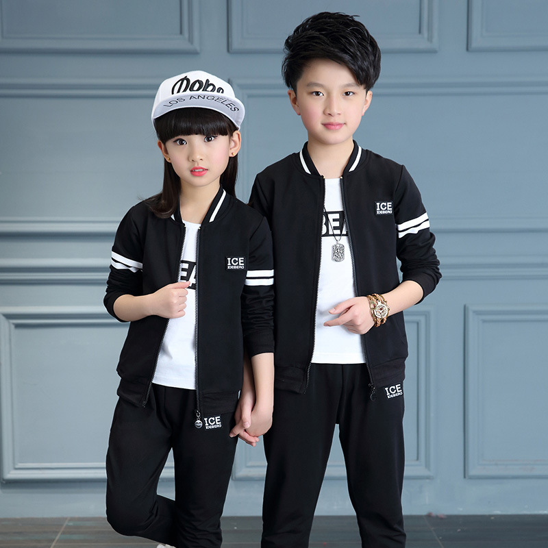 New spring autumn kids clothes sets children casual 3 pcs suit jackets +pants +T shirt baby set boys sport  outwear 4-12 years simple style sleeveless plunging neck see through solid color dress for women