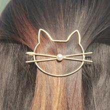 Полый золотой серебряный милый кот заколка для волос имитация заколка для волос с жемчугом боковая заколка аксессуары для волос заколка для волос для женщин Подарки для девушек