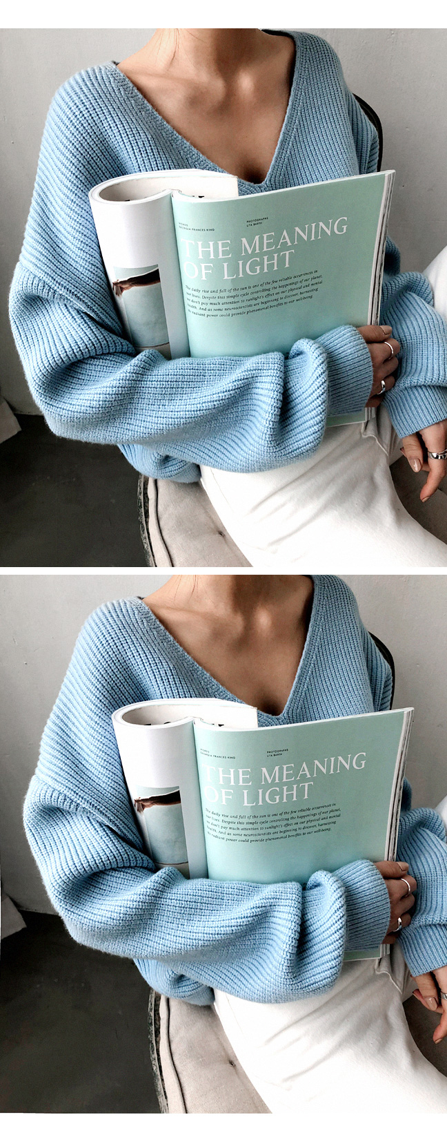 19 Winter Ovreiszed Sweater Women V Neck Black White Sweater Irregular Hen Knitted Tops 15