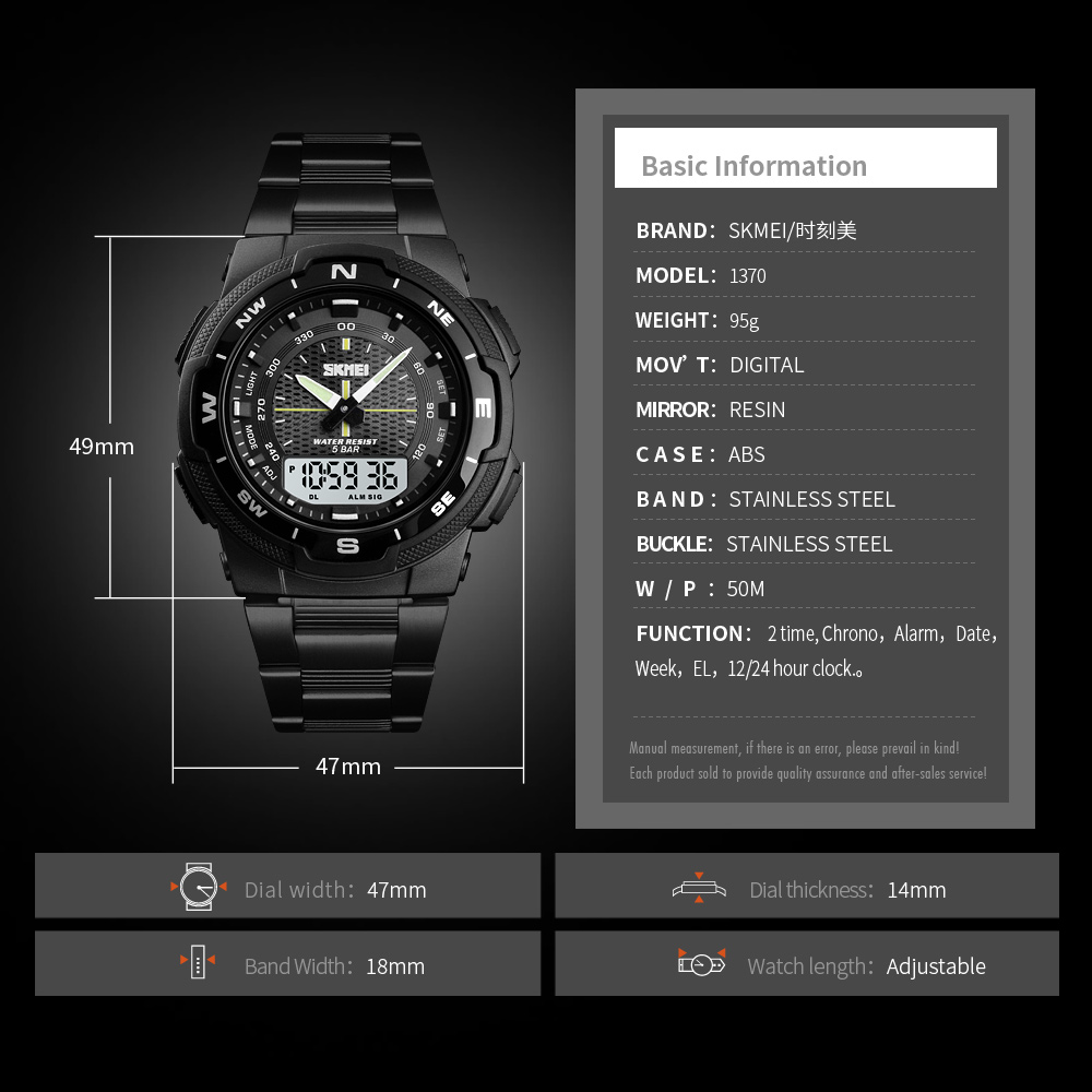 Fashion SKMEI Brand Outdoor Sport Watch Men 50m Waterproof Digital Quartz Dual Time Military Sports Watches Climbing Swim Clock