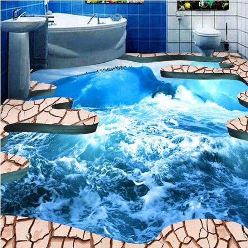 custom floor mural wallpaper 3d creative blue ocean under cracked land photo pvc floor mural. Black Bedroom Furniture Sets. Home Design Ideas