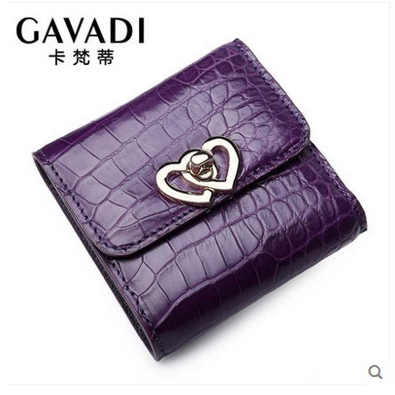 kafandi 2018 Purse female short style true crocodile fashion women's zero purse trend vertical style three-fold female wallet