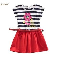 ФОТО jxs neat fashion summer cotton cartoon flowers embroidery printed zebra-striped girls dress children clothes kid dress with belt