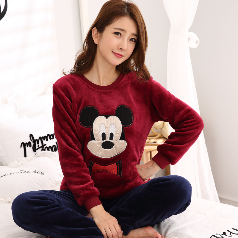 Winter Warm Long Sleeved Flannel Thick Cartoon Women   Pajamas   Coral Fleece Women's   Pajama     Sets   Mujer Pyjamas Fashion Sleepwear