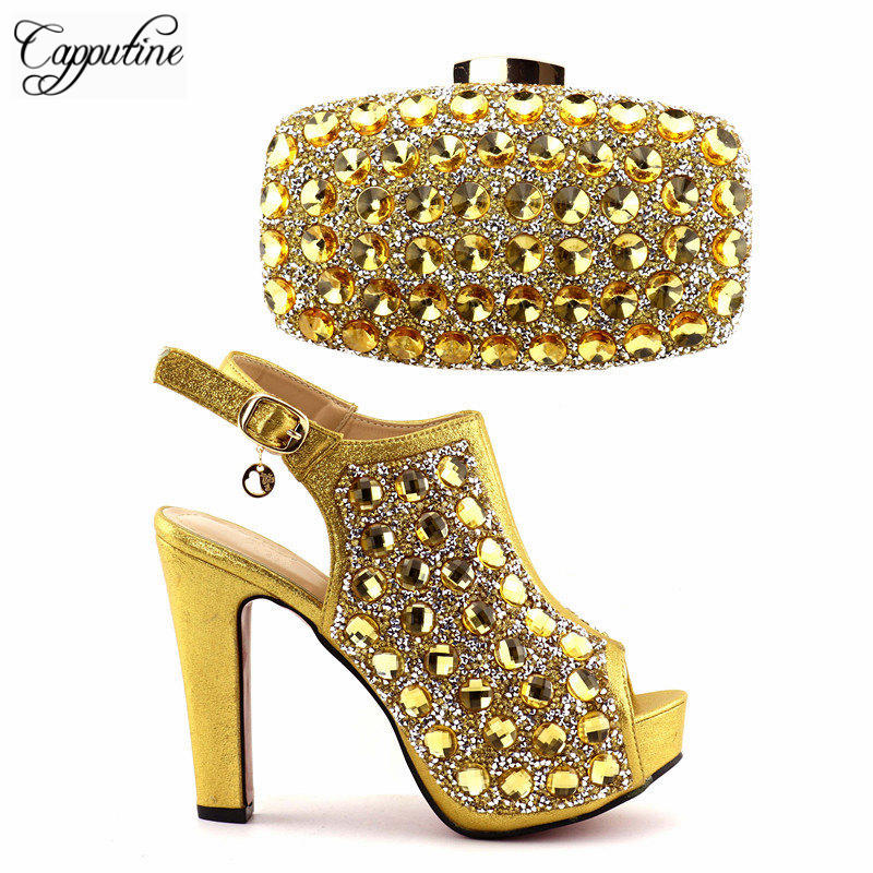 Фотография Capputine Italian Decorated With Rhinestone Shoes And Bag Set Nigerian Style Gold Color Shoes And Bag Set For Wedding Party